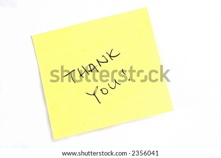 "Sticky post it note with ""Thank You"" wording."