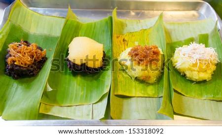 Sticky rice custard on banana leaves