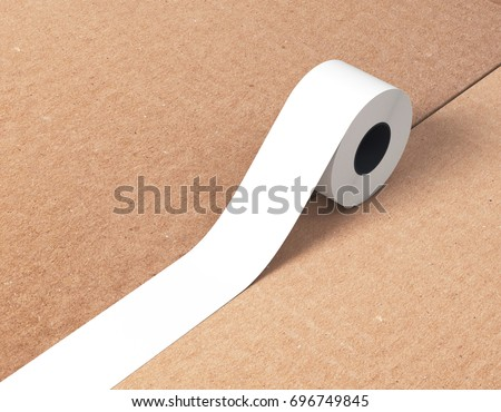 Sticky tape, scotch tape, adhesive tape, carton box 3d rendering