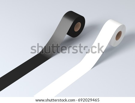 Sticky tape, scotch tape, adhesive tape, white and black tape 3d rendering