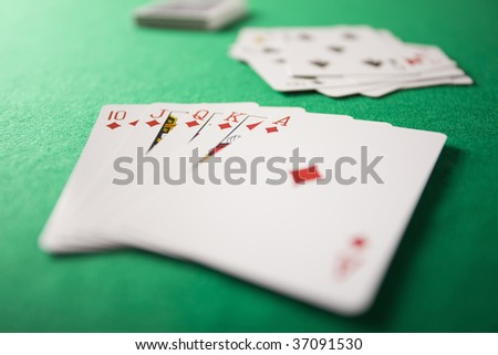 STILL IMAGE- cards on the casino table