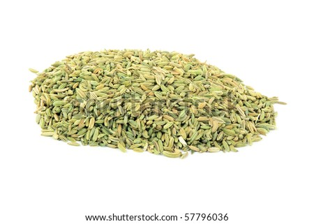 Still image seeds of Fennel  on pile  over white background.
