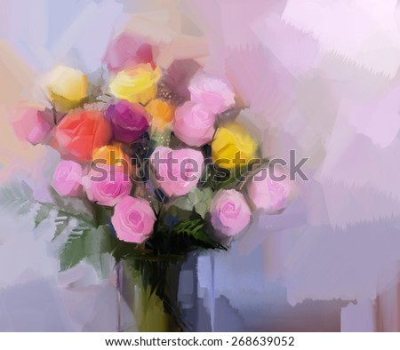 Still life a bouquet of flowers. Oil painting red and yellow rose flowers in vase. Hand Painted floral in soft color and blurred style background