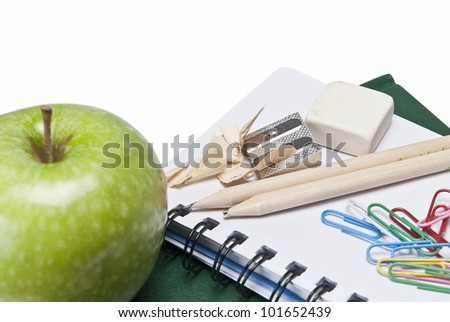 Still life about back to school with school supplies. - stock photo