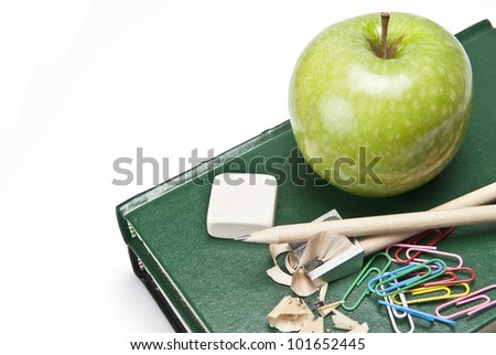 Still life about back to school with school supplies.