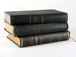 Still life and close-ups of old books, holy bible and hymn books
