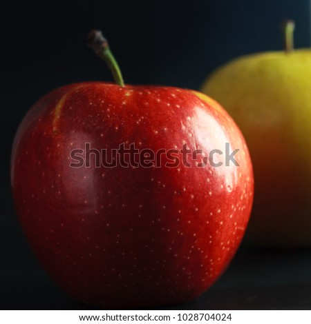 Still life: apple on black velvet