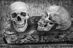 Still life art manipulated on death concept with skulls on floating marble table black and white version with copy space