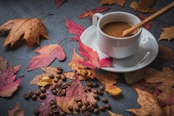 Still life- autumn motif. Breakfast- cup of coffee is on the table. Set of dishes and sweets