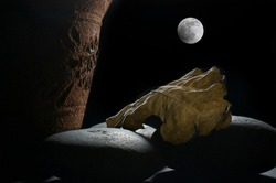 still life chiaroscuro with a Mexican garden pot, and a dry leaf on rocks with a full moon in the background, night garden and autumn concept, chiaroscuro, baroque style fine art photography.