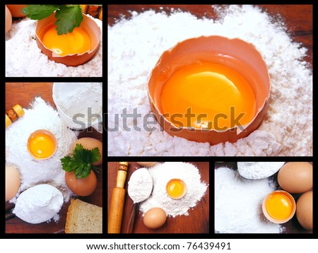 Still life eggs, flour and kitchen tools on a wooden board. Kitchen collage.