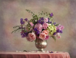 Still life flowers in a silver vase  (digital art)
