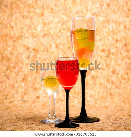 Still life. Food. Drinks. Original serving food and drinks. The image is suitable for use in cafes, bars, restaurants, shops as promotional products.