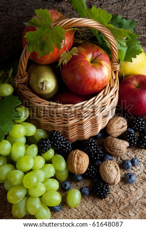 Still life for thanksgiving with autumn fruits, nuts and berries