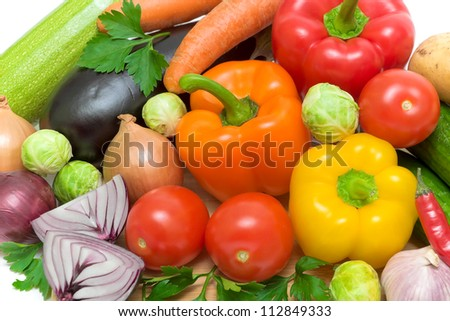 still life. fresh vegetables close up. top view