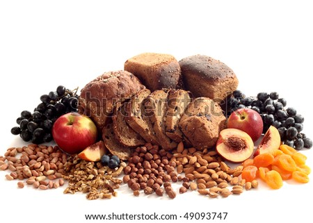 Still-life from bread and fruit - stock photo