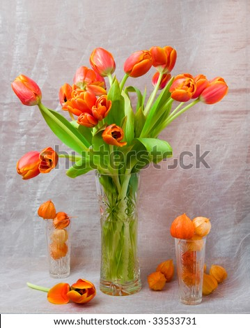 Still-life from spring colours of orange colour
