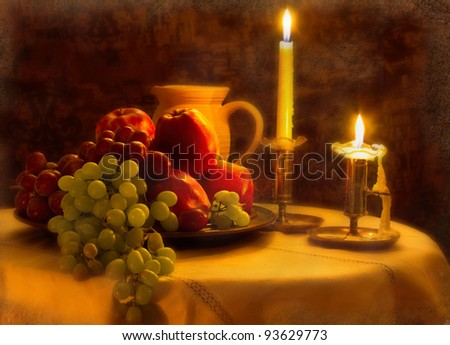 Still life, fruit and candle, Vintage.