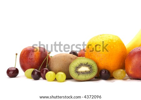 Still-life, fruit, grapes, kivi, an orange, a peach, a sweet cherry,