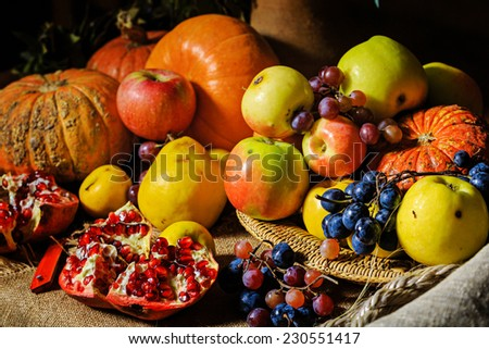 Still life harvest festival of fresh and ripe fruits and vegetables: pumpkin, apples, pears, grapes and pomegranates