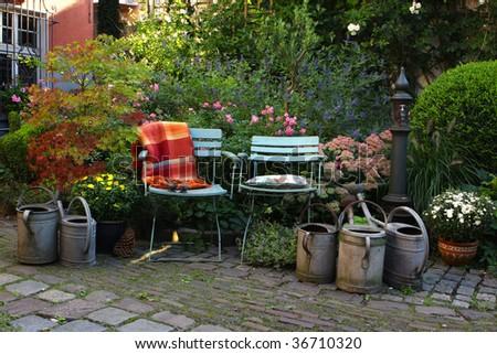 still life in german house garden, autumn