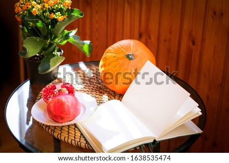 still life in the interior with books