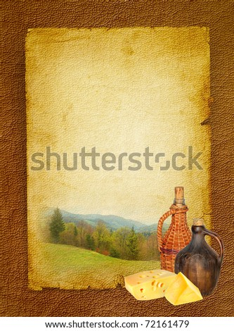 Still life in the rural style with traditional Swiss cheese and wine jugs on the  mountain view background. Wine background with domestic cheese and bottles. Vintage design on the leather texture.