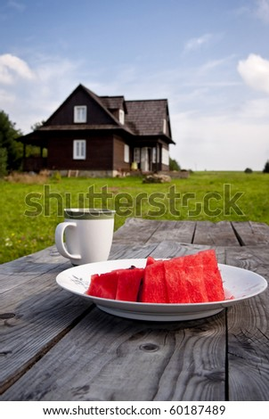 Still life : juicy watermelon, cup of coffee - dessert outdoors