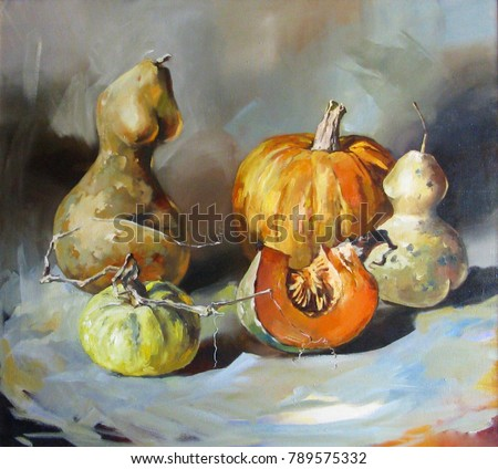 Still life. Multicolored pumpkins of different shapes and sizes on a light table. Painting: oil, canvas.