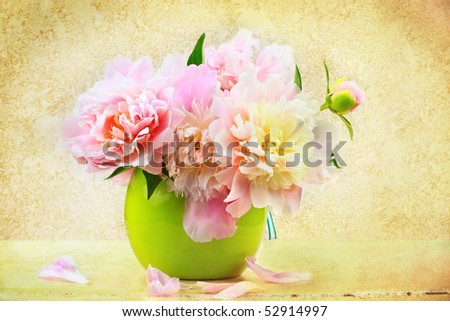 Still life of a beautiful floral arrangement  in a vase.