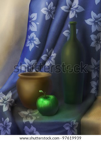 Still life of a brown pot and bright green apple on a blue background