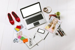 Still life of a fashion creative space. /  Overhead of a essentials objects in a fashion blogger