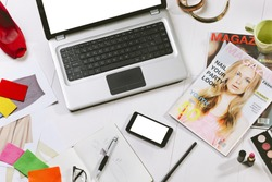Still life of a fashion creative space./ Overhead of a essentials objects in a fashion blogger
