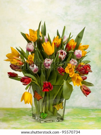 Still Life of a Spring Tulips Bouquet