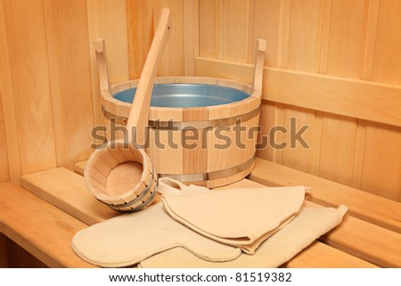 Still life of a steam bath room accessories