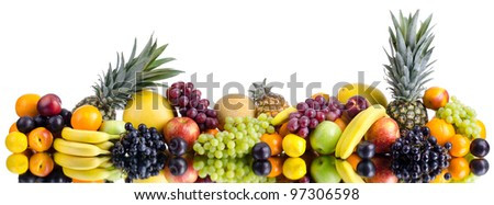 still life of big  heap multi-coloured fruits , on white background, isolated. Panorama of two photography