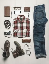 Still life of casual man./  Overhead of essentials modern man.