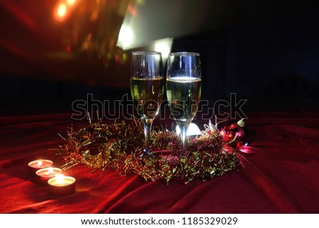 Still life of champagne at Christmas. #1185329029