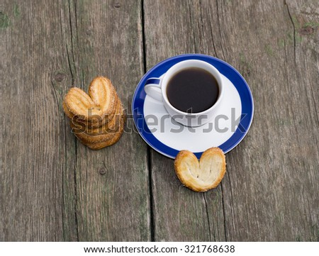 still life of coffee and linking of cookies, top view, subject food and drinks
