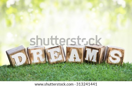 still life of DREAMS sign made of wooden blocks on a green grass with bokeh background