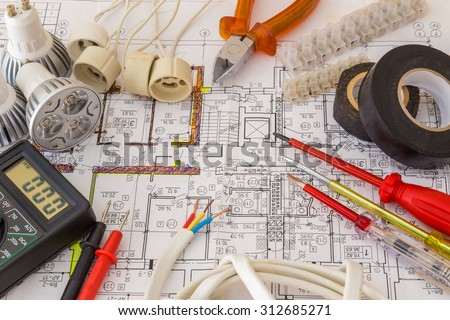 Still Life Of Electrical Components Arranged On Plans #312685271