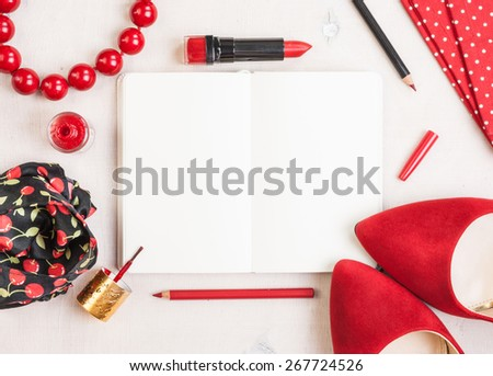 Still life of fashion woman. Feminine cosmetic background. Overhead of essentials fashion woman objects