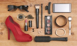 Still life of fashion woman./ Overhead of essentials fashion woman objects.