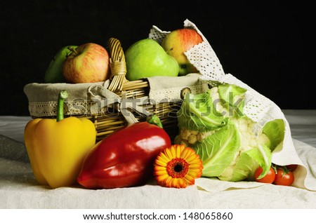 Still Life of Fruit And Vegetables On The Table