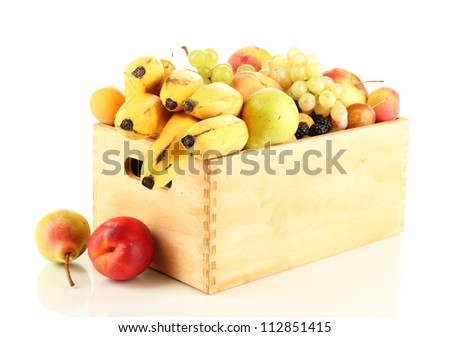 Still life of fruit in a box isolated on white