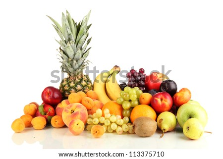 Still life of fruit isolated on white
