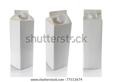 still life of milk boxes in some different angle isolated over white
