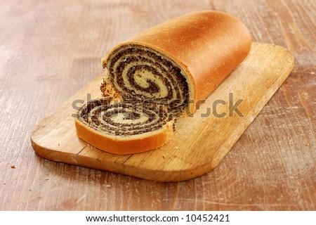 still life of poppy bread loaf in kitchen