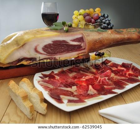 still life of Spanish ham plate