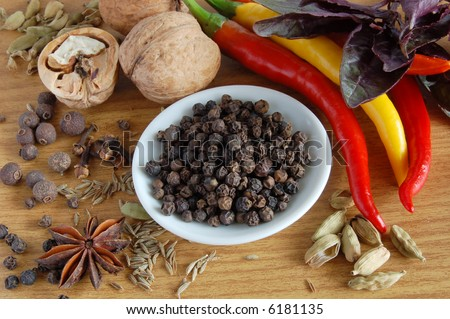 still life of spice:  black pepper and other spice
